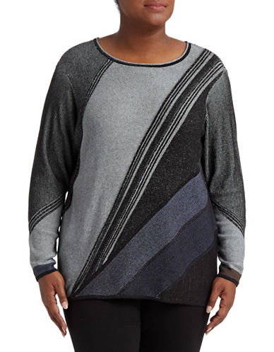 Nic+Zoe Plus Horizon Abstract Striped Top-ASSORTED-2X