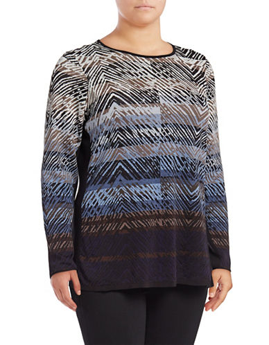 Nic+Zoe Plus Coastline Long Sleeve Top-BLUE-2X