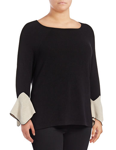 Nic+Zoe Plus Crystal Cuff Top-BLACK-2X
