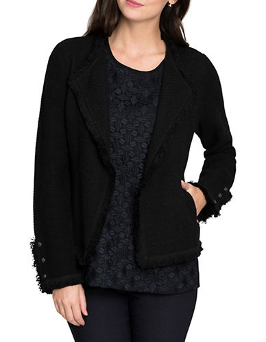 Nic+Zoe Fringe Mix-Media Jacket-BLACK ONYX-Medium