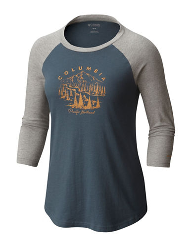 Columbia Mount Tabor Baseball Tee-CHARCOAL-Small