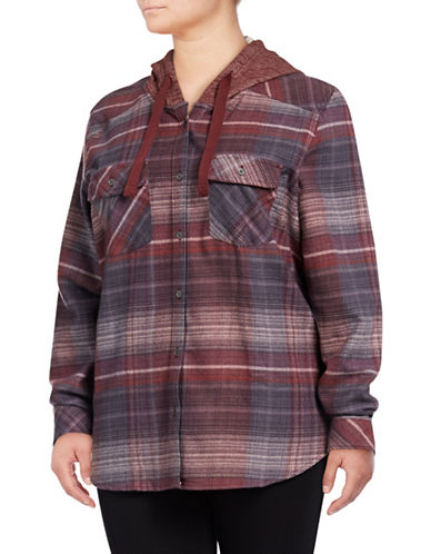 Columbia Striped Hooded Button-Down Shirt-RED-1X
