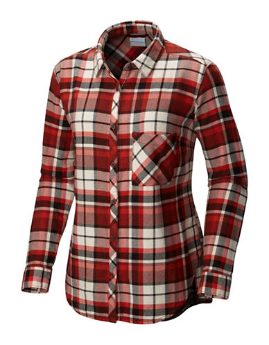 Columbia Deschutes River Flannel Cotton Sport Shirt-RED-Medium