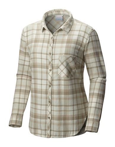 Columbia Deschutes River Flannel Cotton Sport Shirt-WHITE-X-Small