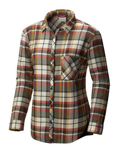 Columbia Deschutes River Flannel Cotton Sport Shirt-GREEN-X-Small