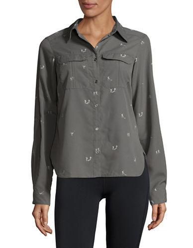 Columbia Athlete Print Button-Down Shirt-GREY-Small