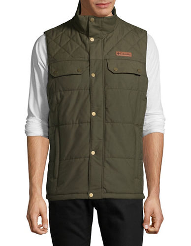 Columbia Quilted Button-Front Vest-BROWN-Medium