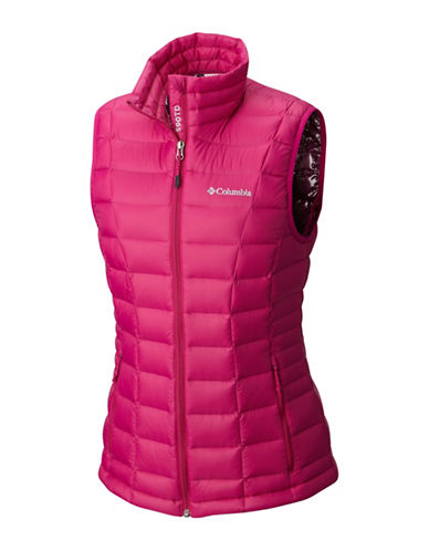 Columbia Voodoo Falls 590 TurboDown Vest-DEEP BLUSH-Small