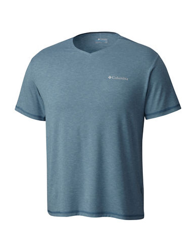 Columbia Tech Trail V-Neck Tee-BLUE-Medium