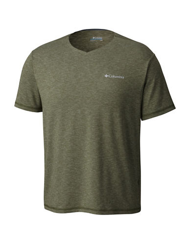 Columbia Tech Trail V-Neck Tee-GREEN-Large