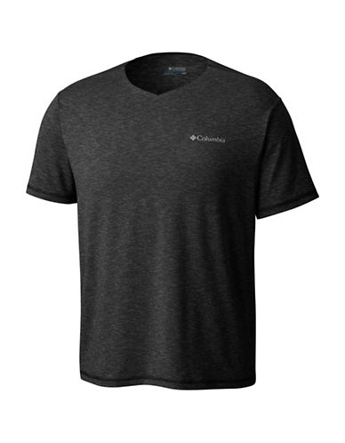Columbia Tech Trail V-Neck Tee-BLACK-X-Large