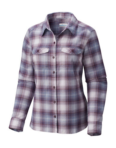 Columbia Silver Ridge Long-Sleeve Flannel Button-Down Shirt-PURPLE-Large
