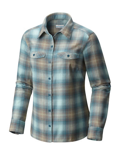 Columbia Silver Ridge Long-Sleeve Flannel Button-Down Shirt-GREEN-X-Small