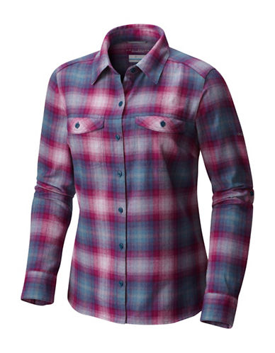 Columbia Silver Ridge Long-Sleeve Flannel Button-Down Shirt-BLUE-Medium