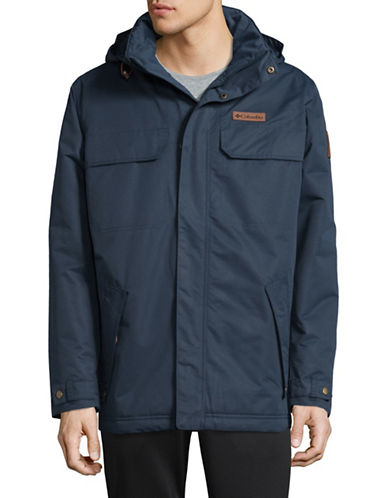 Columbia Double Layer Hooded Jacket-BLUE-Large