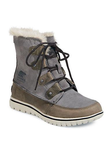 Sorel Cozy Joan Suede and Faux Fur Mid-Calf Boots-GREY-6