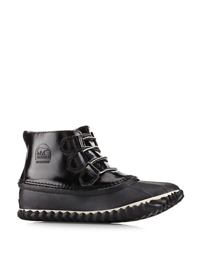 Sorel Out N About Leather Rain Ankle Boots-BLACK-9