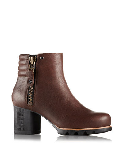 Sorel Danica Pebbled Leather Ankle Boots-BROWN-8
