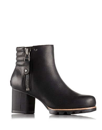 Sorel Danica Pebbled Leather Ankle Boots-BLACK-6.5