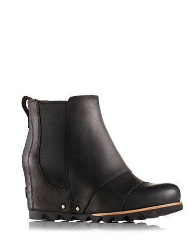 Sorel Lea Leather Chelsea Wedge Boots-BLACK-11