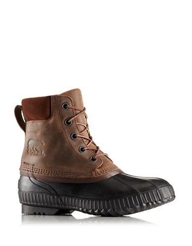 Sorel Cheyanne II Lace-Up Leather Rain Boots-DARK BROWN-8