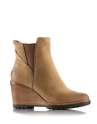 Sorel After Hours Suede Chelsea Wedge Boots-BROWN-9.5