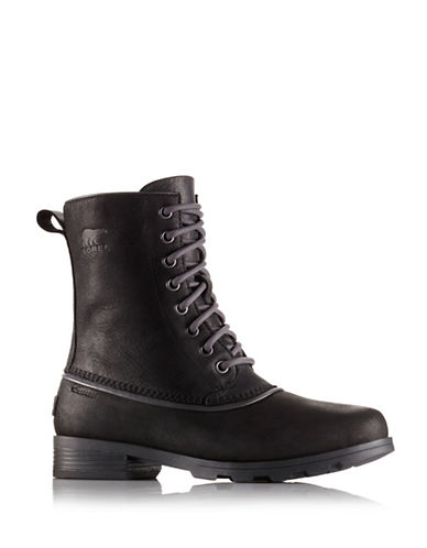 Sorel Emelie Waterproof Leather Mid-Calf Boots-BLACK-9.5