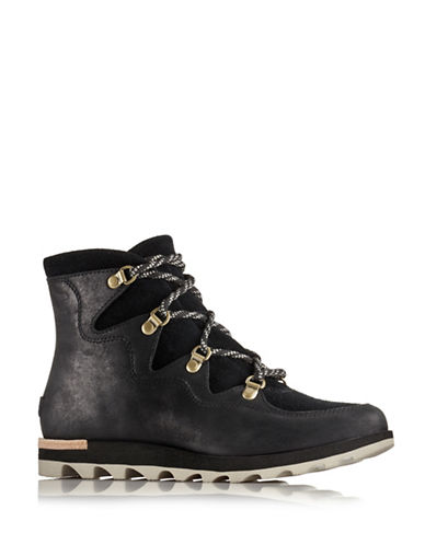 Sorel Sneakchic Alpine Leather and Suede Ankle Boots-BLACK-9
