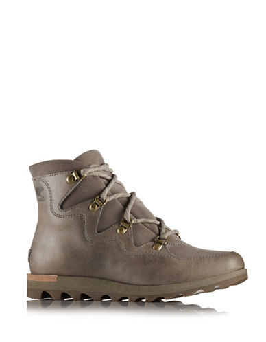 Sorel Sneakchic Alpine Leather and Suede Ankle Boots-GREY-6.5