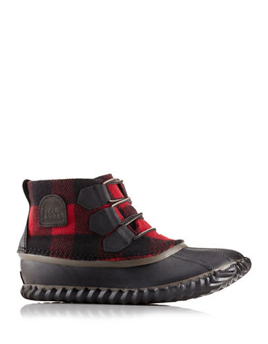 Sorel Out N About Plaid Rain Booties-BLACK/RED-8.5