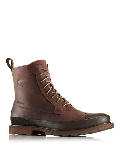 Sorel Madson Wingtip Leather Ankle Boots-BROWN-11
