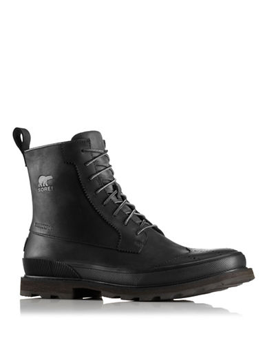 Sorel Madson Wingtip Leather Ankle Boots-BLACK-10