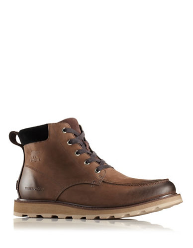Sorel Madson Moc Toe Nubuck Rain Boots-BROWN-8.5