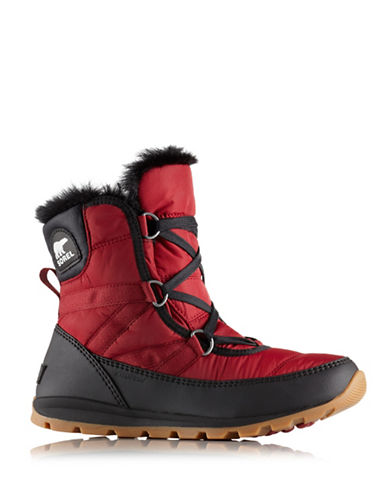 Sorel Whitney Faux Fur-Trimmed Lace-Up Boots-RED-9.5