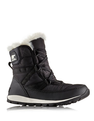 Sorel Whitney Faux Fur-Trimmed Lace-Up Boots-BLACK-7.5