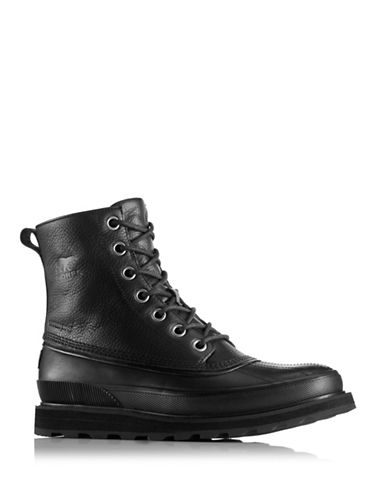 Sorel Madson Lace-Up Leather Rain Boots-BLACK-9.5