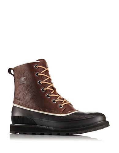 Sorel Madson Lace-Up Leather Rain Boots-BROWN-12
