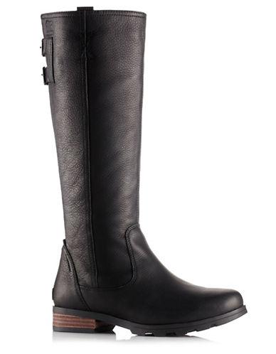 Sorel Emelie Leather Waterproof Premium Tall Boots-BLACK-8.5
