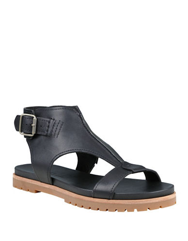Timberland Natoma Ankle Strap Leather Sandals-BLACK-7