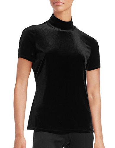 T Tahari Mirah Velvet Mock Neck Top-BLACK-X-Large 88760159_BLACK_X-Large