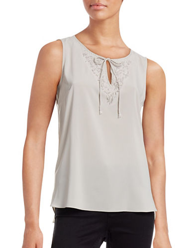 T Tahari Lunetta Beaded Blouse-WHITE-Large