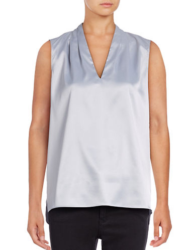 T Tahari Edie Silk Shell Blouse-GREY-X-Small