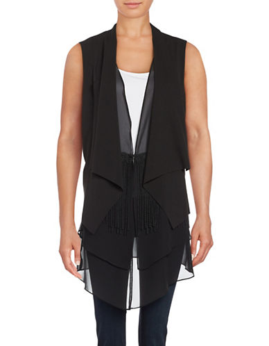 T Tahari Fringed Layered Flyaway Vest-BLACK-Small