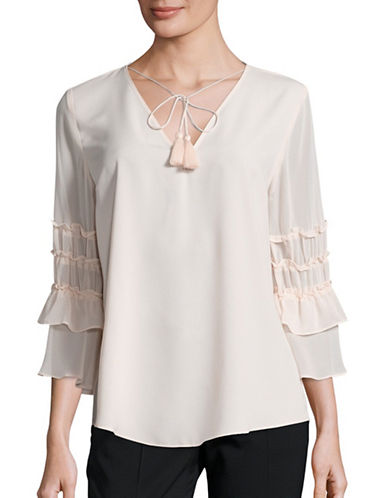 T Tahari Ruffled Sleeve V-Neck Top-PINK-Large 88939506_PINK_Large