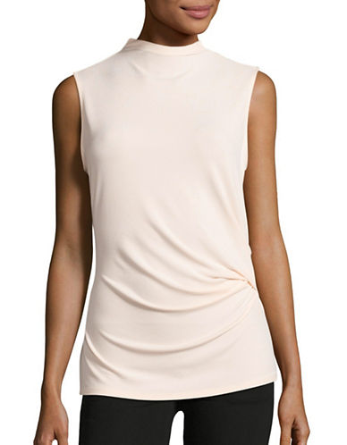 T Tahari Cecily Ruched High Neck Shell-PINK-X-Large
