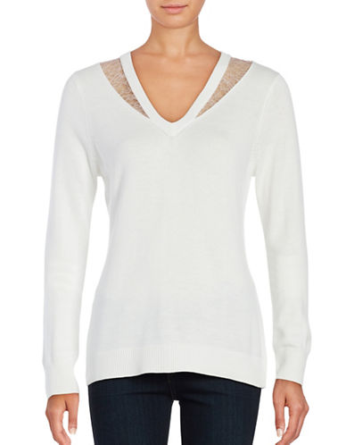 T Tahari Lace-Trimmed V-Neck Sweater-WHITE-X-Small 88870560_WHITE_X-Small