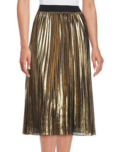 T Tahari Pheobe Pleated Metallic Chiffon Midi Skirt-GOLD-