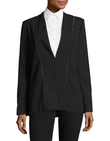 T Tahari Ronda Ladderwork Detail Jacket-BLACK-16