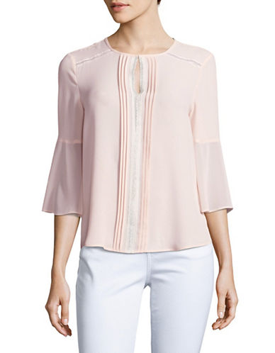 T Tahari Miranda Pleated Lace Blouse-PINK-Medium