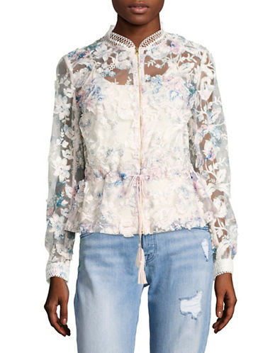 T Tahari Sheer Embroidered Bomber Jacket-PINK TINT-X-Large